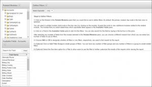 Screenshot of define filters in SugarCRM