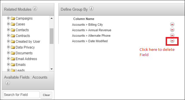 Screenshot of deleting a selected field in SugarCRM