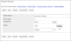 Screenshot of entering report details in SugarCRM