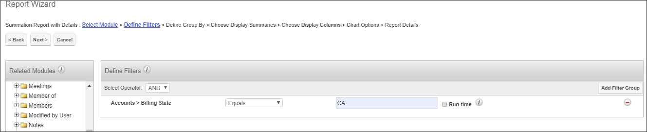 Screenshot of filters criteria for reports in SugarCRM
