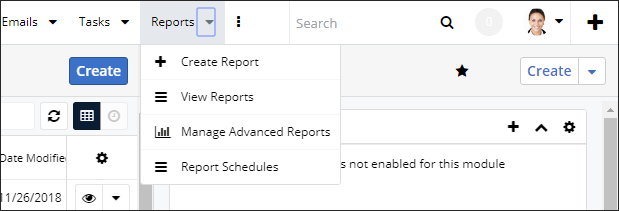Screenshot of navigating to reports wizard SugarCRM