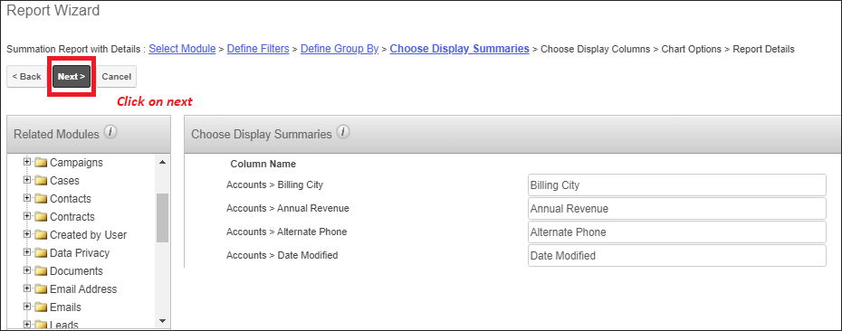 Screenshot of selected fields summaries in SugarCRM
