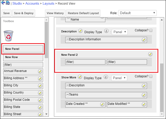 Screenshot of Adding a panel to Layout in SugarCRM