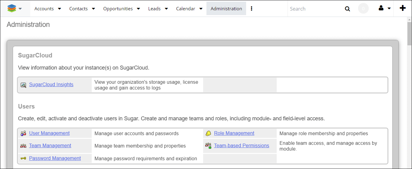 Screenshot of Admin Panel in SugarCRM