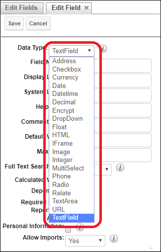 Screenshot of DataType of field in SugarCRM