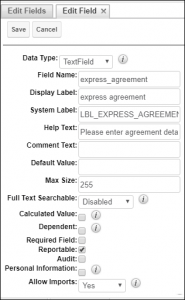 Screenshot of a field with details in SugarCRM