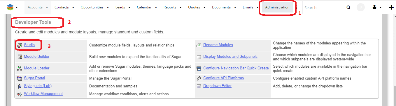 Screenshot of developer tool in SugarCRM