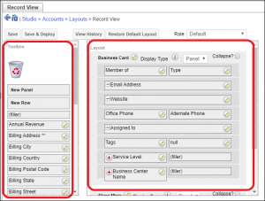 Screenshot of layout in SugarCRM
