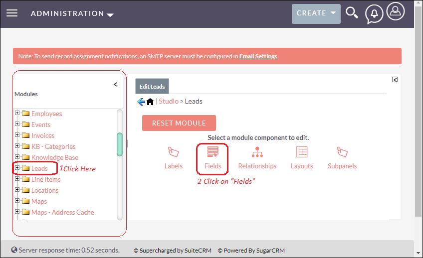 Selecting fields tap form studio in SuiteCRM